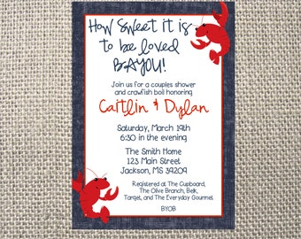 PRINTED or DIGITAL Crawdad Crawfish Boil How Sweet Wedding Shower Couples Invitations 5x7 Customized Grill Out BBQ Design 0.82 each