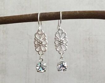 Crystal Chandelier Earrings, Crystal Earrings, Crystal Drop Earrings, Crystal Dangle Earrings, Silver Drop Earrings, Silver Flower Earrings