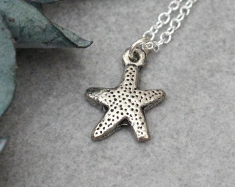 Silver Starfish Necklace, Starfish Pendant Necklace, Small Starfish Charm, Dainty Starfish Necklace, Nautical Necklace, Minimalist Necklace