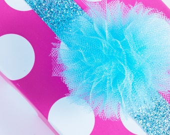 Ice Blue Tulle Pom- Tulle pom- Pom pom- Winter party- Holiday party- Christmas party- Cupcake topper