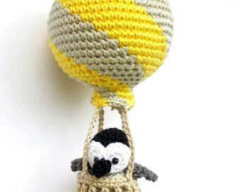 Hot Air Balloon Nursery Decoration With Crochet Animals In