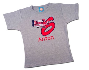 Airplane Birthday Shirt with Number and Embroidered Name