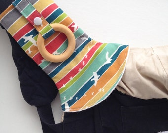 Custom ORGANIC Curved Drool Pads with Wood Ring (for Ergo, Beco, Boba, Tula, Lillebaby, more...)