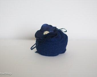 Navy Stretch Knit Wrap and Headband Set, Photo Session Prop, Wrap Set, Baby Stretch Wrap Set, Blue Headband