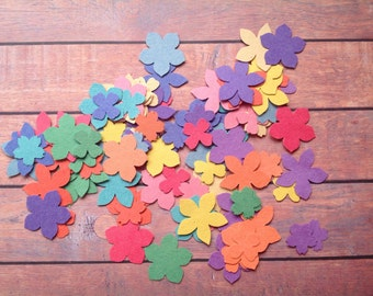 96 Flower die cuts, multi coloured flower die cuts, small paper flowers, table confetti, paper flowers, destash