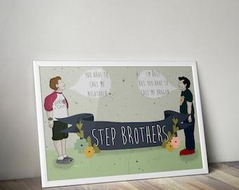 Stepbrothers illustration A3 print