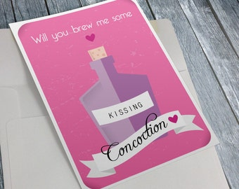 Valentines Card Potion - Kissing Concoction - Instant download printable - Love Gift Greeting Cards for witch and wizard