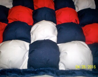 """One of a kind baby Puff quilt 28"""" x 42"""" cotton, with navy fleece minky on back and border by PerfectGiftPuffQuilt"""