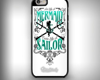 iPhone 6+ / 6s+ case with Full color custom graphics - Act Like a Mermaid Curse Like a Sailor