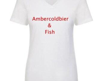 Super Cute! Ambercoldbier & Fish  womens v-neck shirt - short sleeve tee - womenstshirt  mermaid streetwear fun tee novelty graphic tshirt