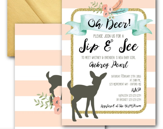Oh Deer Sip and See Invitation // Oh Deer // Fawn Invitation // It's a Girl // Peach // Mint // Gold Glitter // OXFORD COLLECTION