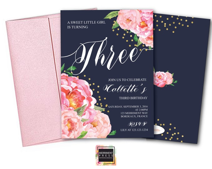 Birthday Invitation // Two // Three // Four // Six // Any Age // Navy // Flowers // Peony // Pink // Gold Glitter // BORDEAUX COLLECTION