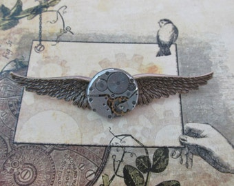 "Steampunk ""Mechanique"" Vintage Clockworks Brass Wings Pin"