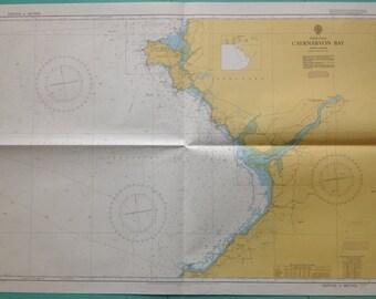 Vintage Nautical Map, Caernarvon Bay 1970 Wales
