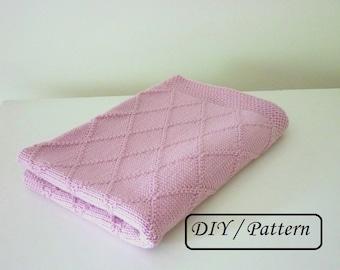 Baby blanket pattern / baby blanket knitting pattern / knit baby blanket pattern / knitting pattern