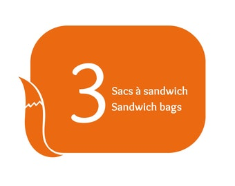 Value pack of 3 reusable sandwich bags and reusable snack bags at your choice, eco friendly alternative packaging for lunch