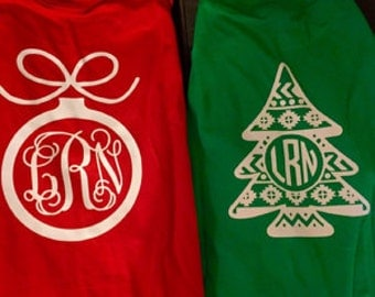 Front and Back Christmas Monogram Shirt