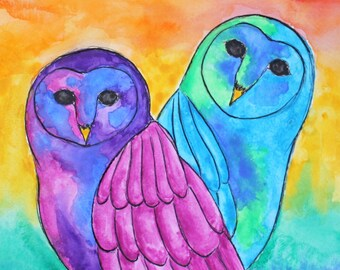 "New Original Multicolor Rainbow Owl Pair Couple 12x12"" Ink Drawing Watercolor Painting Fine Art Artwork *Make An Offer On Price*"
