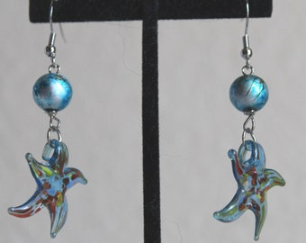 Glass Starfish Earrings