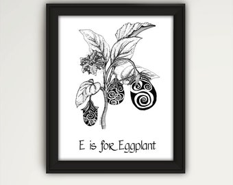 Eggplant Print Eggplant Wall Art Eggplant Kitchen Art Eggplant Decor Black And