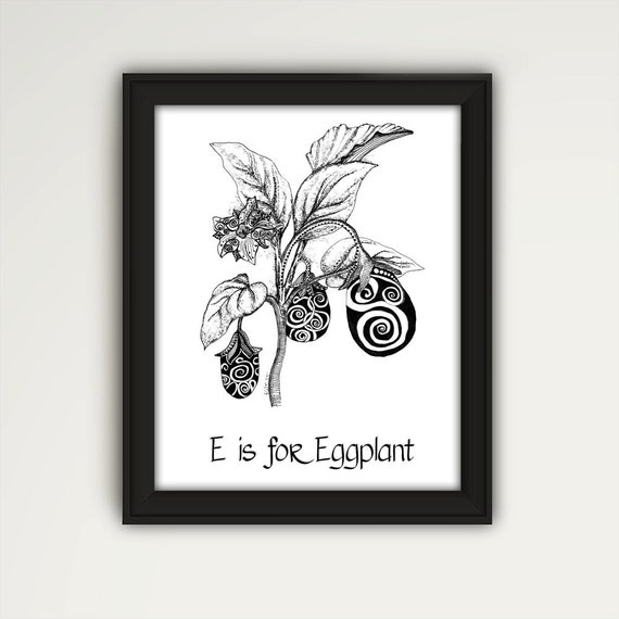 Https Www Etsy Com Listing 288053023 Eggplant Print Eggplant Wall Art