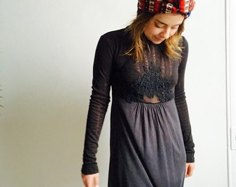 Two Tone Black Victorian Lace Tunic Dress