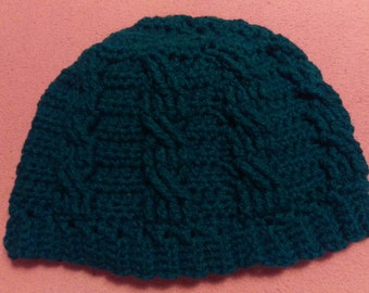 corded adult beanie (teal, small)