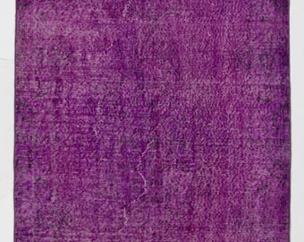 "Overdyed Rug 3'9"" x 7'2"" (116 x 220 cm) Turkish Handmade Vintage Rug, Purple Overdyed Rug"