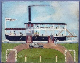 Folk art painting, Elaine Ross, 1930    Steamboat Inn