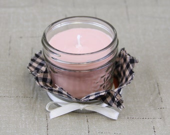 30 Vanilla Hazelnut Soy candles with gingham check cloth and ribbon