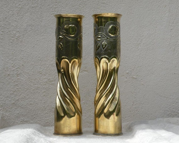 French antique brass shell casings, Great War, French brass trench art, pair brass vases, ornate shell casings, Militaria, World War, brass