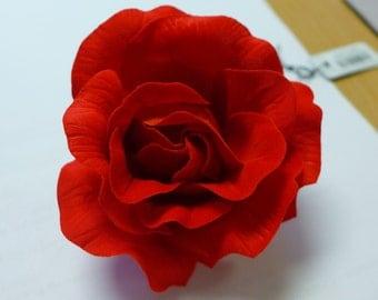 Red Medium/Large Burlesque Flower Rose Flamenco Dancer Pin Up HAIR CLIP Slide