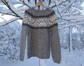 READY TO SHIP. Knitted, Handmade, Grey Icelandic wool sweater/ jumper. Grey with white and black pattern