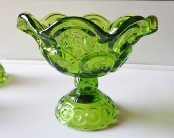 """L.E Smith Antique Green Glass Moon And Stars Console Bowl 5-1/4"""" Tall x 6"""" Wide Across The Top Free Shipping"""