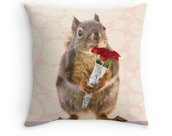 Gift for Her, Squirrel Decor, Squirrel Cushion, Squirrel Pillow, Animal Cushion, Cute Cushion, Funny Pillow, Gift for Wife, Funny Cushion