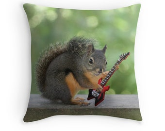 Music Decor, Squirrel Cushion, Gift for Musician, Music Gift, Squirrel Pillow, Funny Cushion, Electric Guitar, Squirrel Decor,Warlock Guitar