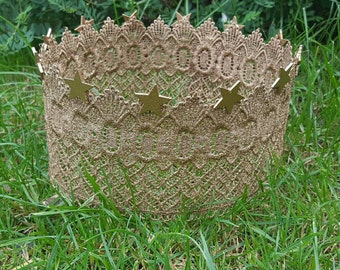 Gold lace crown with stars older child / adult photoprop