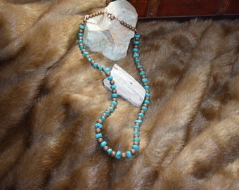 Turquoise magnesite and copper necklace