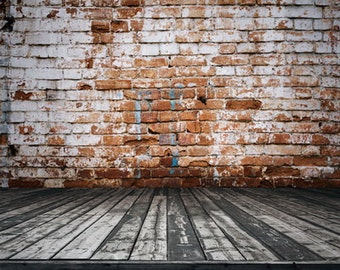 Newborns Boys Photo Backdrop for Studios Old Rustic Brick Wall with wood floordrop Vinyl Photography Backdrop D9127