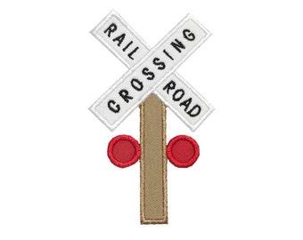 Railroad Crossing Post Applique Machine Embroidery Digital Design Train Choo