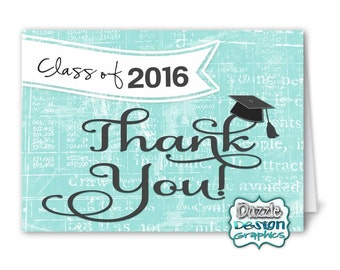 Graduation Class of 2016 THANK YOU notecard | M2M made to match, coordinating matching notecard, #035 Instant Download