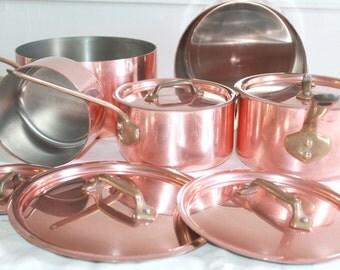 Vintage Copper Cookware with lids, French Copper Saucepans, Villedieu Copper, Stamped Copper Pots, Tin Lined, Copper Kitchen Set, Copper Pan