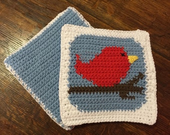 Red Bird Potholder Set