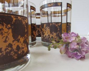 Mid Century Barware - Set of 8 Mid Century Rocks Glasses - Class Hollywood Regency Design - Georges Briard - Low Balls - Whiskey Glasses -