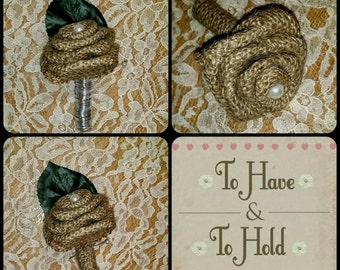 Burlap rose button hole boutonniere
