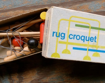 Miniature Rug Croquet Set