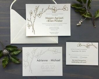 Letterpress Wedding Suite, Cherry Blossoms, Washington DC, Elegant Custom Wedding Invitation, Grey Metallic Gold, Simple Garden Wedding