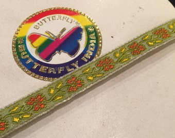 "High quality floral woven ribbon - green, orange and yellow - 1/2"" wide - 4 1/2 yards"