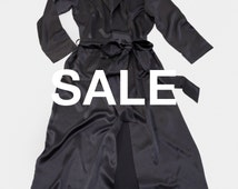 SALE - Long 100% Pure Silk Robe - Silk Dressing Gown - Valentine's Gift - Truly Luxurious - Midnight Grey Colour