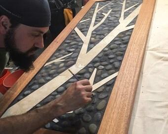 Mosiac tile art in Mahogany. Single panel.
